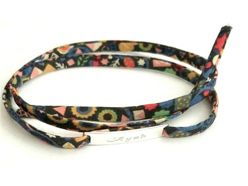 Handmade Personalised Unique 925 Sterling Silver & Liberty of London Fabric Wrap Bracelet