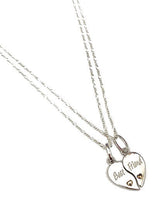 Load image into Gallery viewer, Sterling Silver Best Friend Duo Split Heart Pendants with Necklaces. Friend, Sister Gift