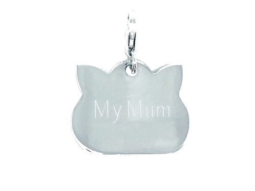 personalised sterling silver cat tag