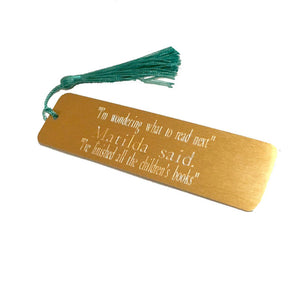 Personalised Engraved Gold Metal Bookmark with Choice of Coloured Tassel. Teacher's Gift.