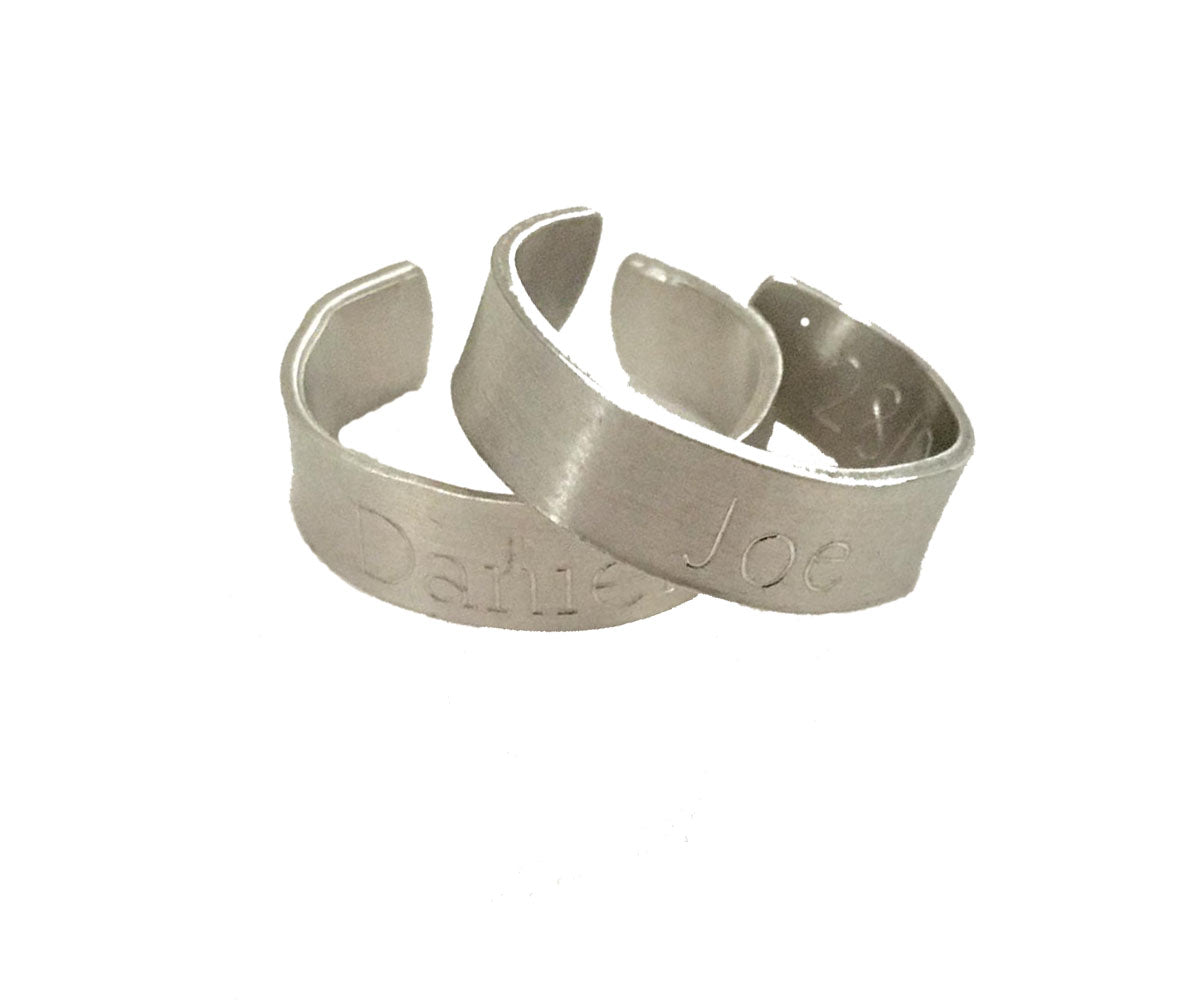 Handmade Personalised Engraved Sterling Silver Cuff Rings. His & Hers Gift / Wedding / Anniversary Gift.