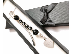 Handmade Personalised rhinestone Bookmark with Gift Box & Engraved heart  Charm