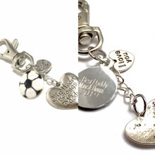 "Load image into Gallery viewer, ""My Heart Belongs To Daddy"" Handmade, Engraved Keyring with football charm"
