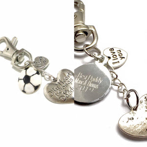 """My Heart Belongs To Daddy"" Handmade, Engraved Keyring with football charm"