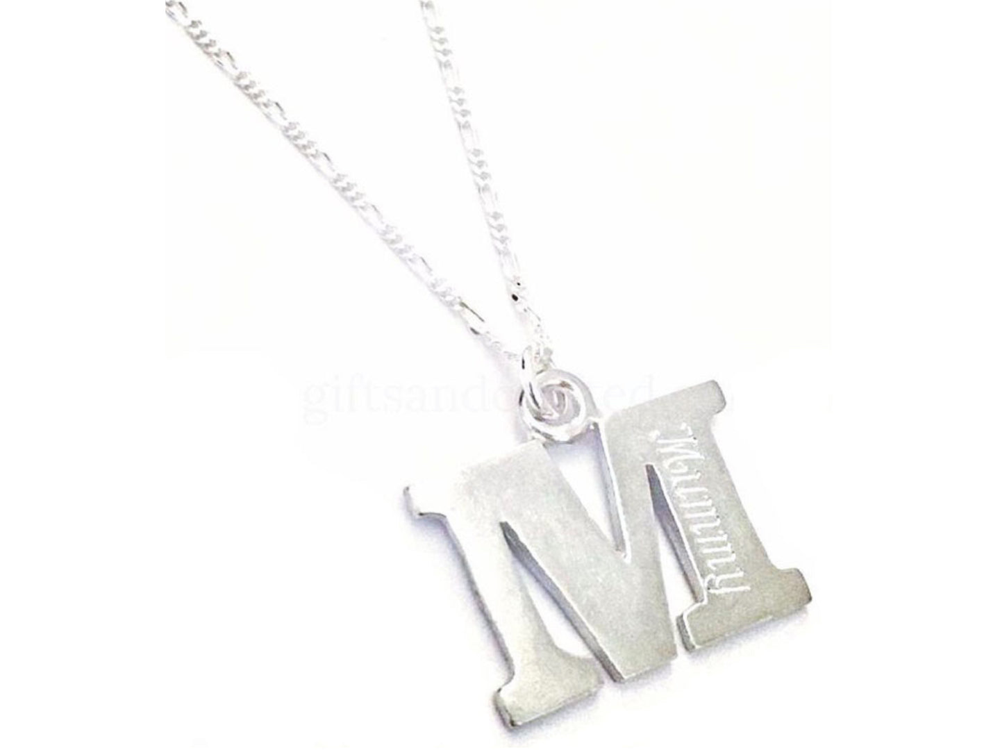 handmade personalised engraved sterling silver initial pendant with necklace