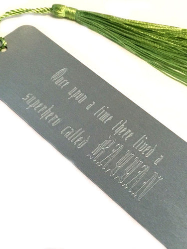 Personalised Engraved Metal Bookmark with Choice of Coloured Tassel. Valentine's Day Gift.