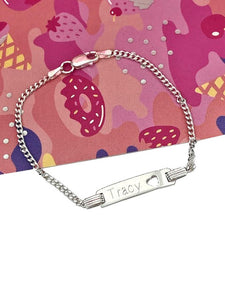 girls sterling silver personalised identity bracelet