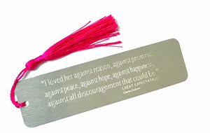 Personalised Engraved Metal Bookmark with Choice of Coloured Tassel. Teacher's Gift.