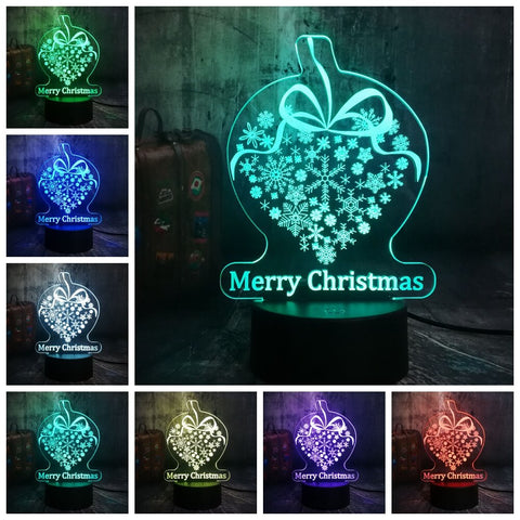 "3D ""Merry Christmas"" LED 7 Color Change Night Light - Shop Better Health"
