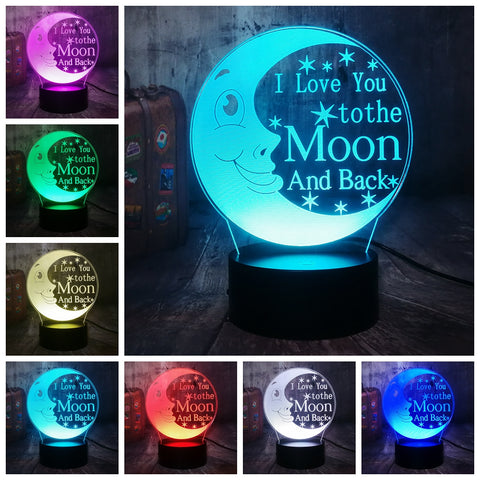 "3D ""I Love You To The Moon and Back"" 7 Color Change LED Night Light - Shop Better Health"