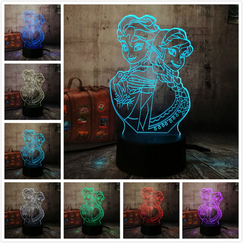 3D Elsa and Anna LED 7 Color Change Night LIght - Shop Better Health