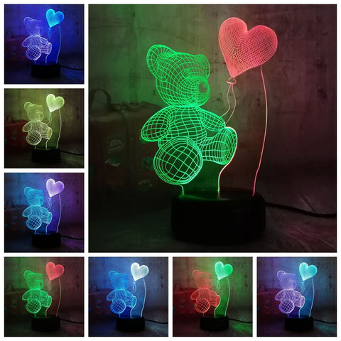 3D Teddy Bear LED 7 Color Change Night Light - Shop Better Health