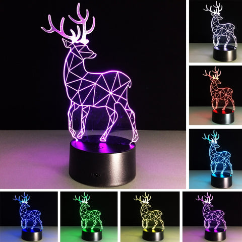3D Christmas Deer 7 Color Change LED Night Light - Shop Better Health