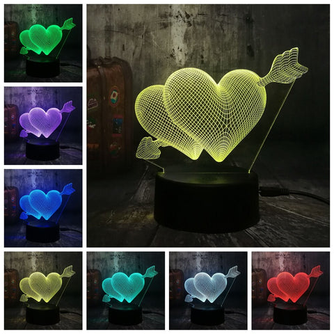 3D Heart Led 7 Color Change Night Light - Shop Better Health