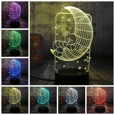 3D Moon Bear 7 Color Change LED Night Light - Shop Better Health