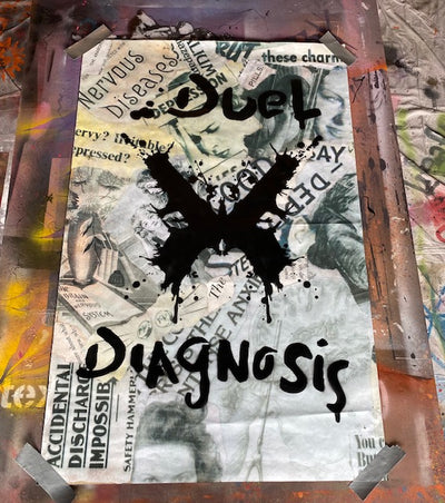 Duel Diagnosis Logo/ Vintage Advert Collage Background