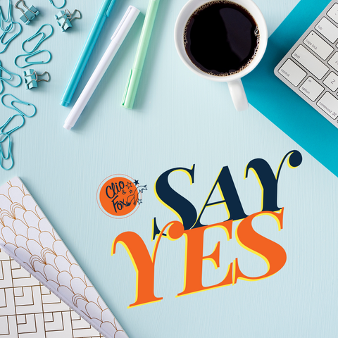 "Turquoise, white, blue and mint green styled desk flat lay stock photo image with ""SAY YES"""