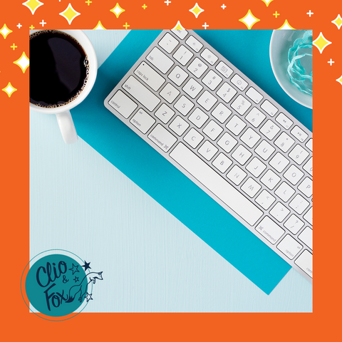 Turquoise Airy Desk styled desk stock image with an orange border and stars