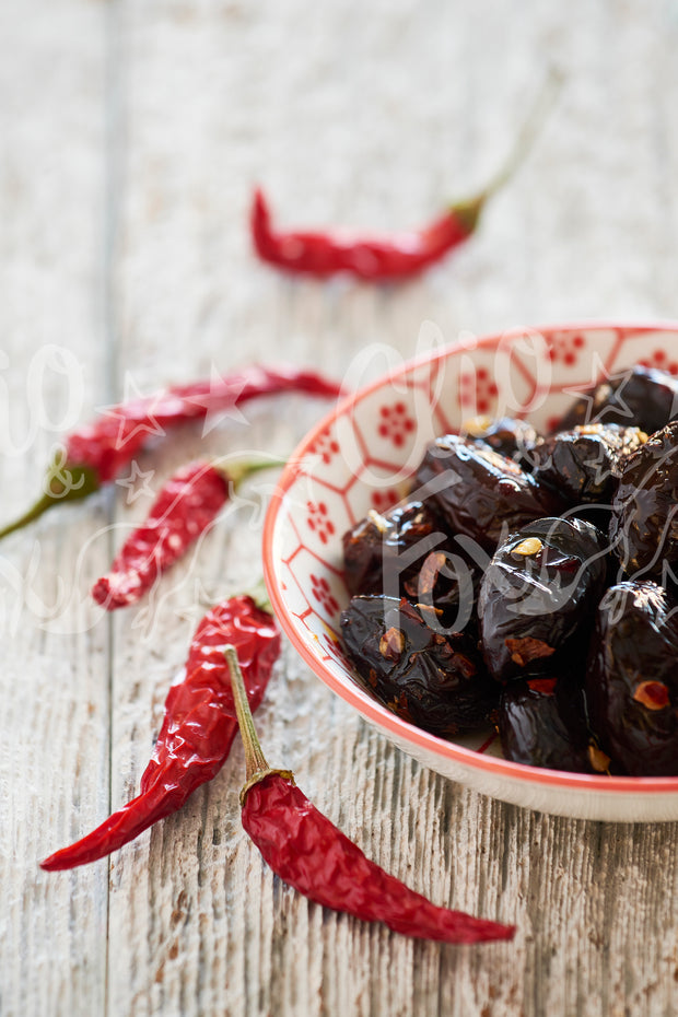 Dried Black Olives and Chilis