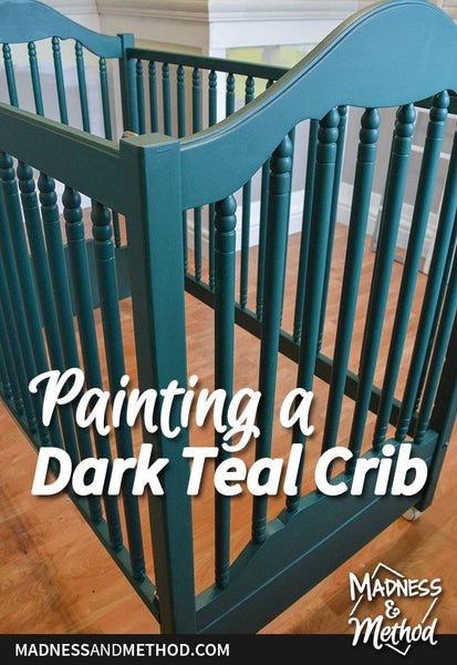 I'm chugging along in the nursery, and back today with more painting progress.  We actually got a lot of other stuff done in the nursery, but I'm going to focus on painting a dark teal crib and leave the rest (aka trim work) for its own post when...