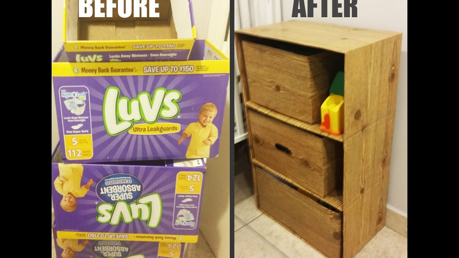 Used some old diaper and baby wipes boxes to make a small dresser for my 1 year old nephew