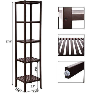 Storage organizer songmics 100 bamboo bathroom shelf 5 tier multifunctional storage rack shelving unit bathroom towel shelf for kitchen livingroom bedroom hallway brown ubcb55z