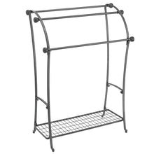 Load image into Gallery viewer, Organize with mdesign large freestanding towel rack holder with storage shelf 3 tier metal organizer for bath hand towels washcloths bathroom accessories graphite gray