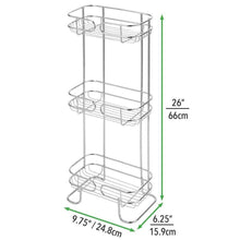Load image into Gallery viewer, Buy now mdesign rectangular metal bathroom shelf unit free standing vertical storage for organizing and storing hand towels body lotion facial tissues bath salts 3 shelves 2 pack chrome