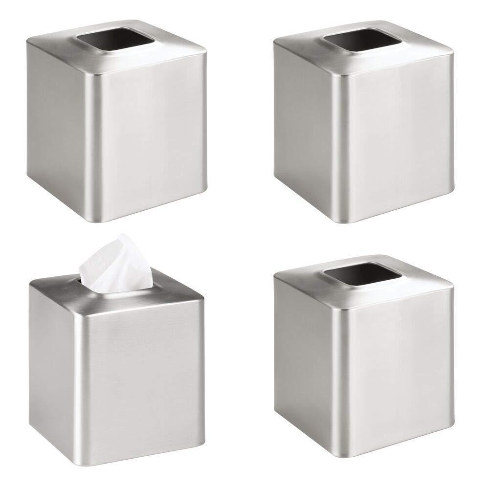 Budget mdesign square paper facial tissue box cover holder for bathroom vanity countertops bedroom dressers night stands desks and tables metal 4 pack brushed