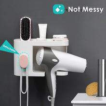 Load image into Gallery viewer, Budget aritan wall mounted hair dryer holder rack no drilling styling tool organizer storage basket for bathroom give 10 hooks 1 soap holder
