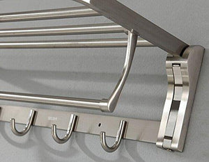 Best k steel stainless steel foldable bath towel rack bathroom shelf towel bar storage organizer contemporary hotel square style wall mount with hooks