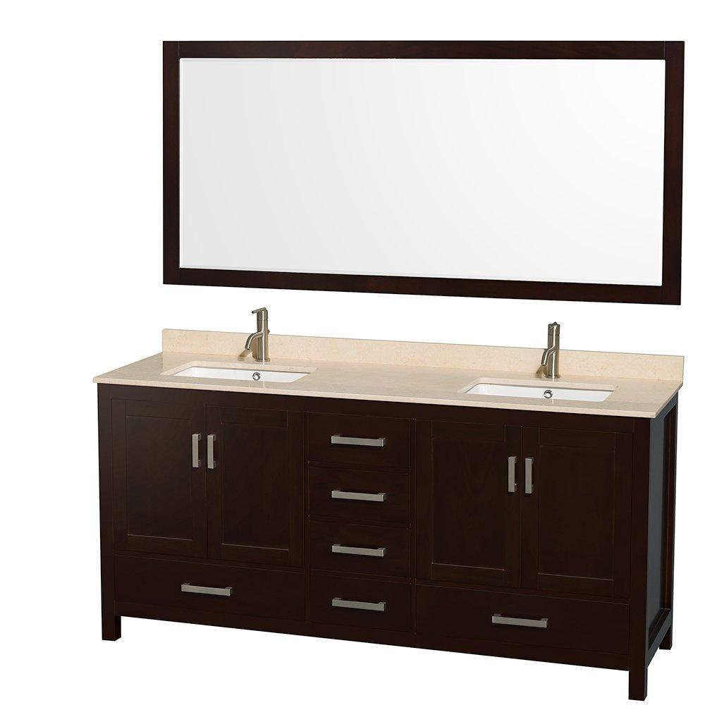 Home wyndham collection sheffield 72 inch double bathroom vanity in espresso ivory marble countertop undermount square sinks and 70 inch mirror