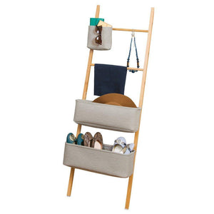 The best interdesign formbu wren free standing bathroom storage ladder with bins for towels beauty products lotion soap toilet paper accessories natural gray