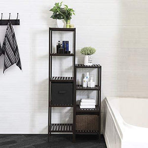 Top songmics 100 bamboo bathroom shelf 5 tier multifunctional storage rack shelving unit bathroom towel shelf for kitchen livingroom bedroom hallway brown ubcb55z