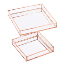 Load image into Gallery viewer, Best seller  koyal wholesale glass mirror square trays vanity set of 2 rose gold decorative mirrored trays for coffee table bar cart dresser bathroom perfume makeup wedding centerpieces