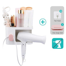 Load image into Gallery viewer, Amazon aritan wall mounted hair dryer holder rack no drilling styling tool organizer storage basket for bathroom give 10 hooks 1 soap holder