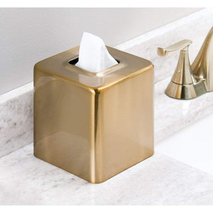 Discover mdesign modern square metal paper facial tissue box cover holder for bathroom vanity countertops bedroom dressers night stands desks and tables 2 pack soft brass