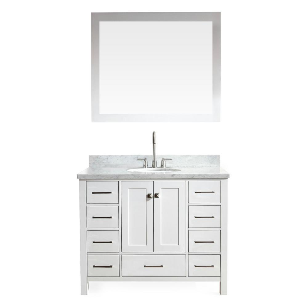 Top rated ariel cambridge a043s wht 43 single sink solid wood bathroom vanity set in grey with white 1 5 carrara marble countertop
