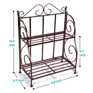 Amazon spice rack ispecle 2 tier foldable shelf rack kitchen bathroom countertop 2 tier standing storage organizer spice jars bottle shelf holder rack classic bronze coating