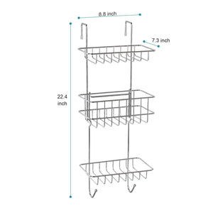Selection hontop shower caddy storage organizer with 3 baskets over the door rack for bathroom kitchen storage shelves toiletries spice towel and soap holder