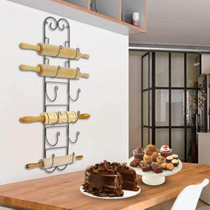 Home rolling pin wall mount adds an elegant appeal to any room with this durable iron material with a black finish wall mount in the kitchen to store wine bottles hang in the bathroom for towel storage