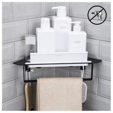 Load image into Gallery viewer, Exclusive forious bathroom shower caddy and kitchen shelf combine with squeegee towel ring and robe hooks patented glue 3m self adhesive aluminum black