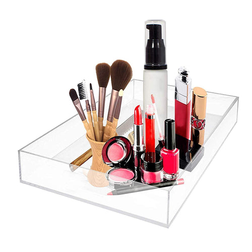 MissionMatch Acrylic Vanity Tray, Remote Tray, Valet Tray Organizer,Catchall Tray, Nightstand or Dresser Organizer for Change, Coin, Key, Phone, Glasses (Clear)