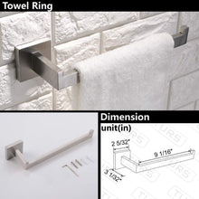 Load image into Gallery viewer, On amazon turs contemporary 4 piece bathroom hardware set towel hook towel bar toilet paper holder tower holder sus 304 stainless steel wall mounted brushed