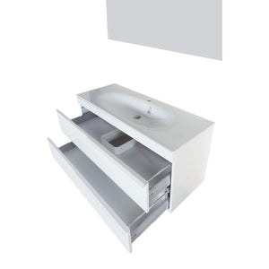 Top rated giallo rosso argento 48 inch bathroom vanity and sink combo with mirror contemporary design wall mount glossy white cabinet set single sink and double drawer