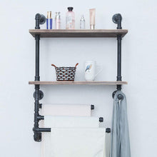 Load image into Gallery viewer, Best seller  industrial towel rack with 3 towel bar 24in rustic bathroom shelves wall mounted 2 tiered farmhouse black pipe shelving wood shelf metal floating shelves towel holder iron distressed shelf over toilet