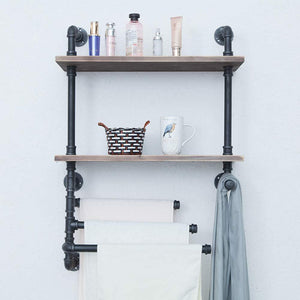 Best seller  industrial towel rack with 3 towel bar 24in rustic bathroom shelves wall mounted 2 tiered farmhouse black pipe shelving wood shelf metal floating shelves towel holder iron distressed shelf over toilet