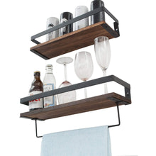 Load image into Gallery viewer, Try y me bathroom storage shelf wall mounted set of 2 rustic wood floating shelves with removable towel bar perfect for kitchen bathroom carbonized brown