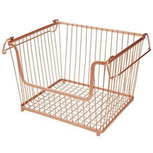 Select nice mdesign modern stackable metal storage organizer bin basket with handles open front for kitchen cabinets pantry closets bedrooms bathrooms large 6 pack copper