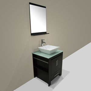 Best seller  walcut 24 inch bathroom vanity and sink combo modern black mdf cabinet ceramic vessel sink with faucet and pop up drain mirror tempered glass counter top
